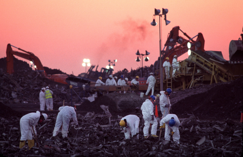 During the 10–month recovery effort after September 11, rescue workers carefully screened and sifted the 1.2 million tons of material that came from the World Trade Center site to Fresh Kills.